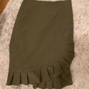 Banana Republic Ruffle Army Green Pencil Skirt